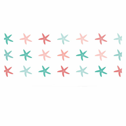"afe images ""Starfish Pattern II"" Teal Pink Illustration Luxe Rectangle Panel"