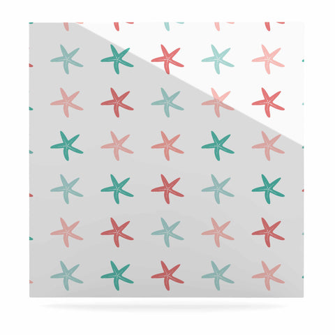 "afe images ""Starfish Pattern II"" Teal Pink Illustration Luxe Square Panel"