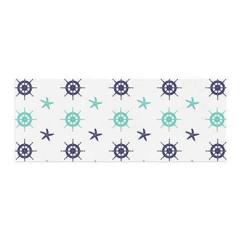 "afe images ""Helm Wheel & Starfish"" Blue Teal Illustration Bed Runner"