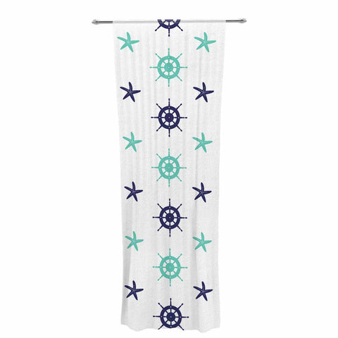 "afe images ""Helm Wheel & Starfish"" Blue Teal Illustration Decorative Sheer Curtain"