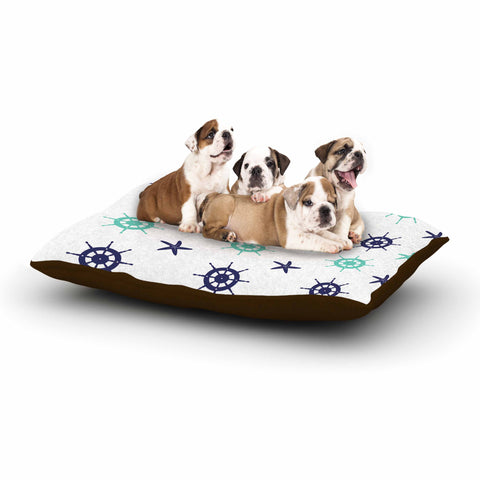 "afe images ""Helm Wheel & Starfish"" Blue Teal Illustration Dog Bed"