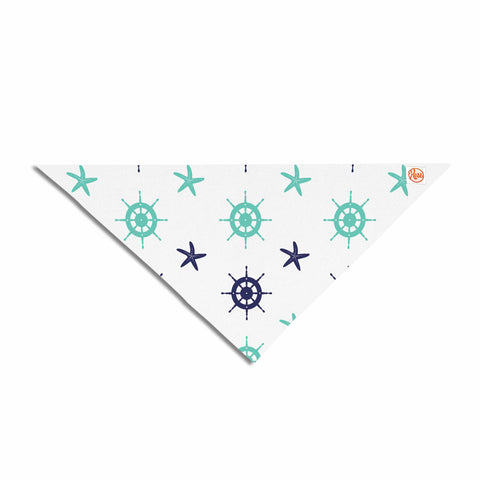 "afe images ""Helm Wheel & Starfish"" Blue Teal Illustration Pet Bandana"