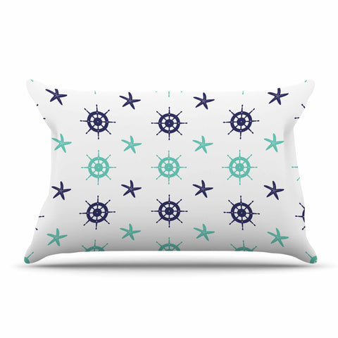 "afe images ""Helm Wheel & Starfish"" Blue Teal Illustration Pillow Sham"