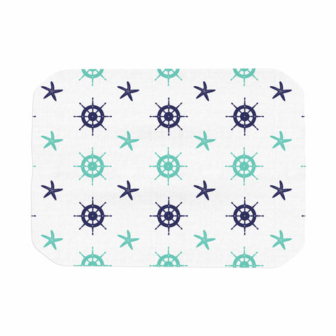 "afe images ""Helm Wheel & Starfish"" Blue Teal Illustration Place Mat"