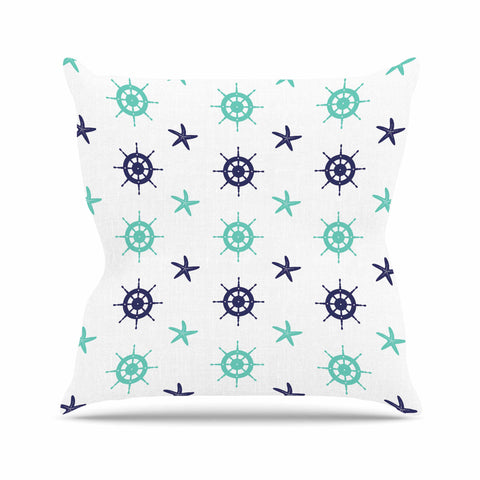 "afe images ""Helm Wheel & Starfish"" Blue Teal Illustration Outdoor Throw Pillow"