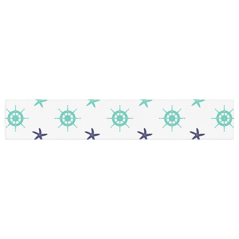 "afe images ""Helm Wheel & Starfish"" Blue Teal Illustration Table Runner"