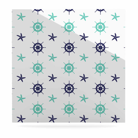 "afe images ""Helm Wheel & Starfish"" Blue Teal Illustration Luxe Square Panel"