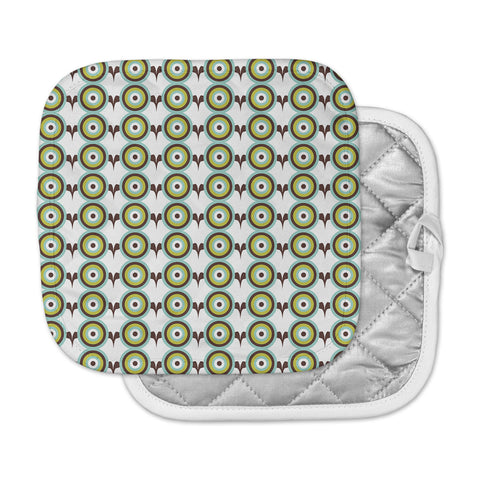 "afe images ""Retro Circles"" Green Brown Illustration Pot Holder"