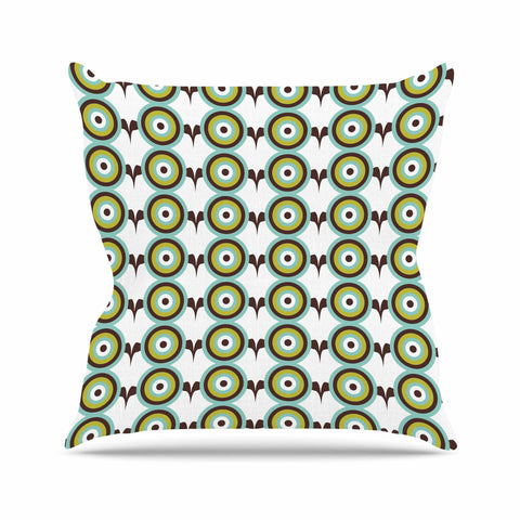 "afe images ""Retro Circles"" Green Brown Illustration Throw Pillow"