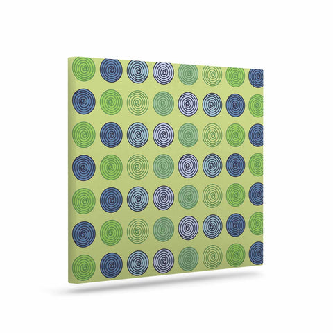 "afe images ""Blue And Green Spheres"" Olive Green Illustration Canvas Art - KESS InHouse  - 1"