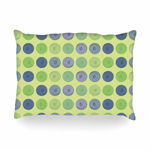 "afe images ""Blue And Green Spheres"" Olive Green Illustration Oblong Pillow"