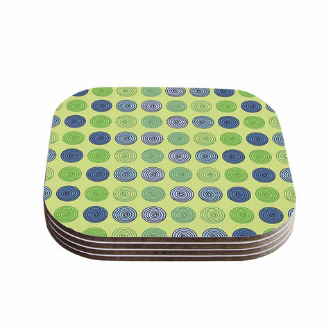 "afe images ""Blue And Green Spheres"" Olive Green Illustration Coasters (Set of 4)"