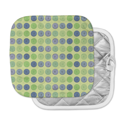"afe images ""Blue And Green Spheres"" Olive Green Illustration Pot Holder"