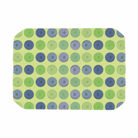 "afe images ""Blue And Green Spheres"" Olive Green Illustration Place Mat"