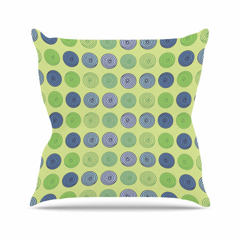 "afe images ""Blue And Green Spheres"" Olive Green Illustration Outdoor Throw Pillow"