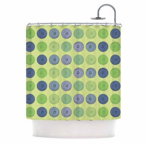 "afe images ""Blue And Green Spheres"" Olive Green Illustration Shower Curtain"