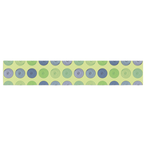 "afe images ""Blue And Green Spheres"" Olive Green Illustration Table Runner"