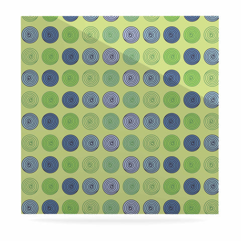 "afe images ""Blue And Green Spheres"" Olive Green Illustration Luxe Square Panel"