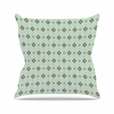 "afe images ""Triangles And Flowers"" Blue Green Illustration Throw Pillow"