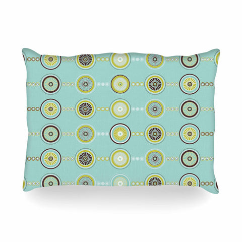 "afe images ""Circle Pattern"" Teal Blue Illustration Oblong Pillow"