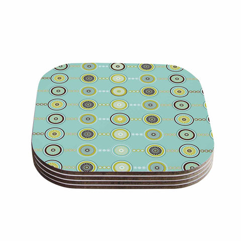 "afe images ""Circle Pattern"" Teal Blue Illustration Coasters (Set of 4)"