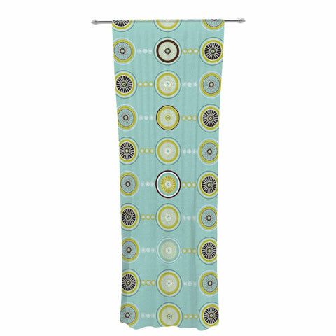 "afe images ""Circle Pattern"" Teal Blue Illustration Decorative Sheer Curtain"