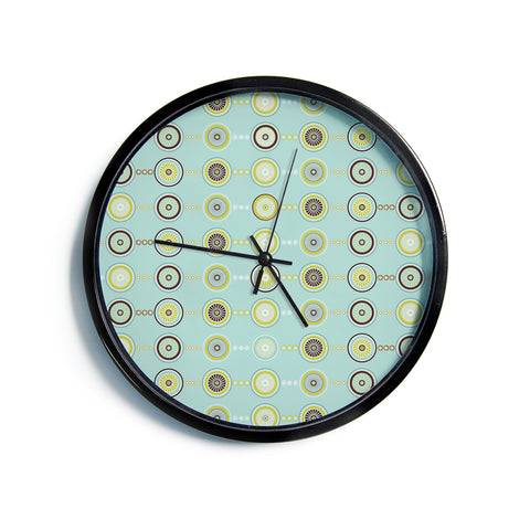 "AFE Images ""Circle Pattern"" Teal Blue Abstract Pattern Illustration Digital Modern Wall Clock"