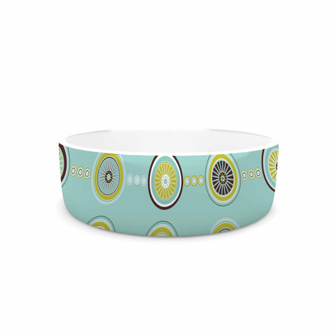 "afe images ""Circle Pattern"" Teal Blue Illustration Pet Bowl"