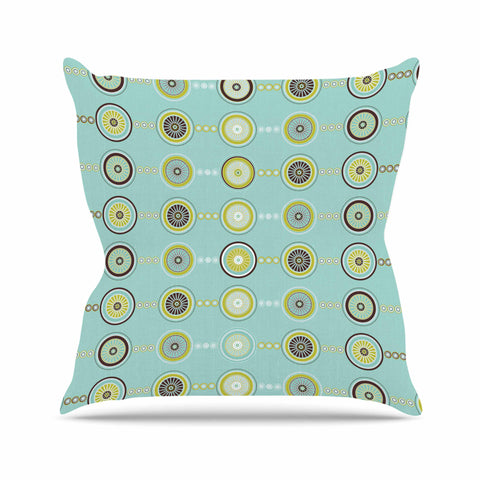 "afe images ""Circle Pattern"" Teal Blue Illustration Outdoor Throw Pillow"