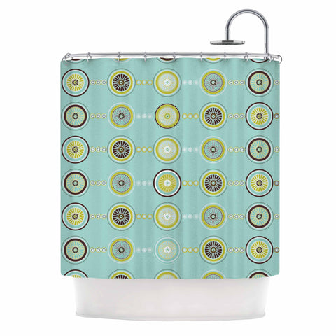 "afe images ""Circle Pattern"" Teal Blue Illustration Shower Curtain"