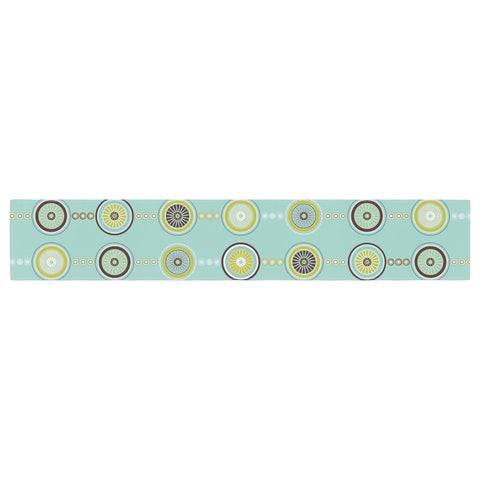 "afe images ""Circle Pattern"" Teal Blue Illustration Table Runner"