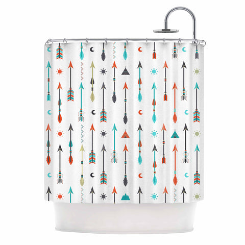 "afe images ""Tribal Inspired Arrow"" Multicolor Illustration Shower Curtain"