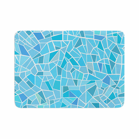 "afe images ""Abstract Mosaic Pattern"" Blue Pastel Illustration Memory Foam Bath Mat"