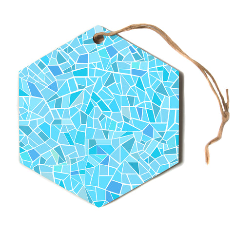 "afe images ""Abstract Mosaic Pattern"" Blue Pastel Abstract Illustration Digital Hexagon Holiday Ornament"