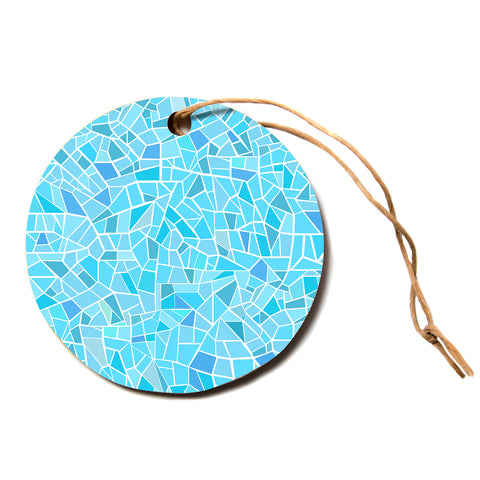 "afe images ""Abstract Mosaic Pattern"" Blue Pastel Abstract Illustration Digital Circle Holiday Ornament"