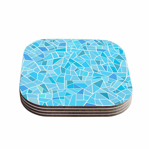 "afe images ""Abstract Mosaic Pattern"" Blue Pastel Illustration Coasters (Set of 4)"