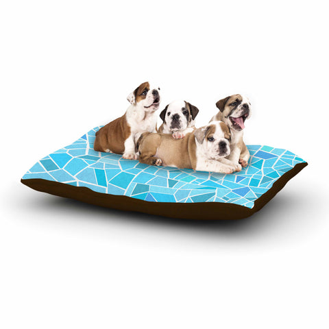 "afe images ""Abstract Mosaic Pattern"" Blue Pastel Illustration Dog Bed"