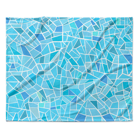 "afe images ""Abstract Mosaic Pattern"" Blue Pastel Illustration Fleece Throw Blanket"