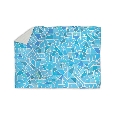"afe images ""Abstract Mosaic Pattern"" Blue Pastel Illustration Sherpa Blanket"