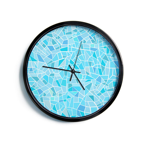 "AFE Images ""Abstract Mosaic Pattern"" Blue Pastel Abstract Illustration Digital Modern Wall Clock"