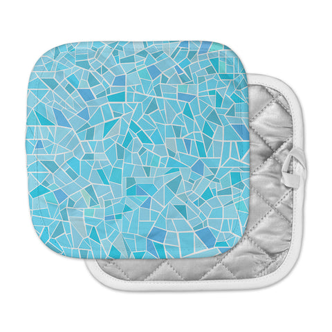 "afe images ""Abstract Mosaic Pattern"" Blue Pastel Illustration Pot Holder"
