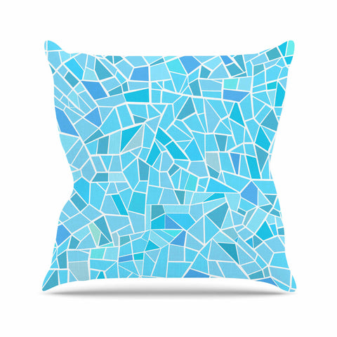 "afe images ""Abstract Mosaic Pattern"" Blue Pastel Illustration Outdoor Throw Pillow"