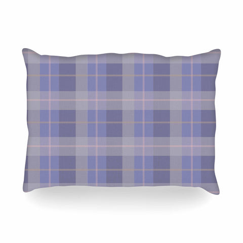 "afe images ""Purple Plaid Pattern"" Purple Blue Illustration Oblong Pillow - KESS InHouse"