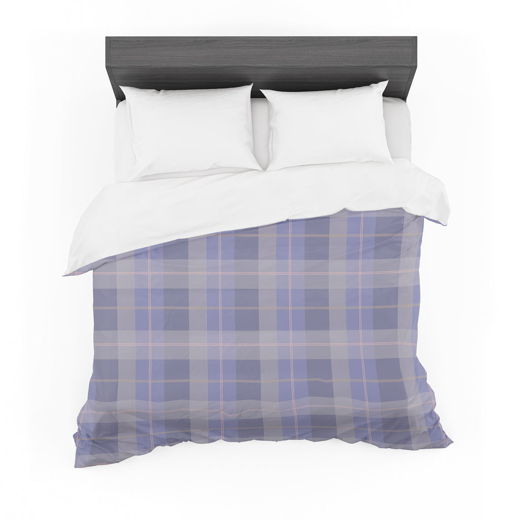 "afe images ""Purple Plaid Pattern"" Purple Blue Illustration Featherweight Duvet Cover - KESS InHouse  - 1"