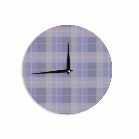 "afe images ""Purple Plaid Pattern"" Purple Blue Illustration Wall Clock - KESS InHouse"