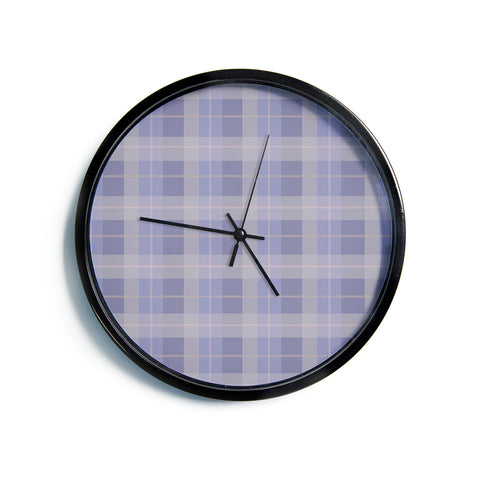 "AFE Images ""Purple Plaid Pattern"" Purple Blue Pattern Stripes Illustration Digital Modern Wall Clock"