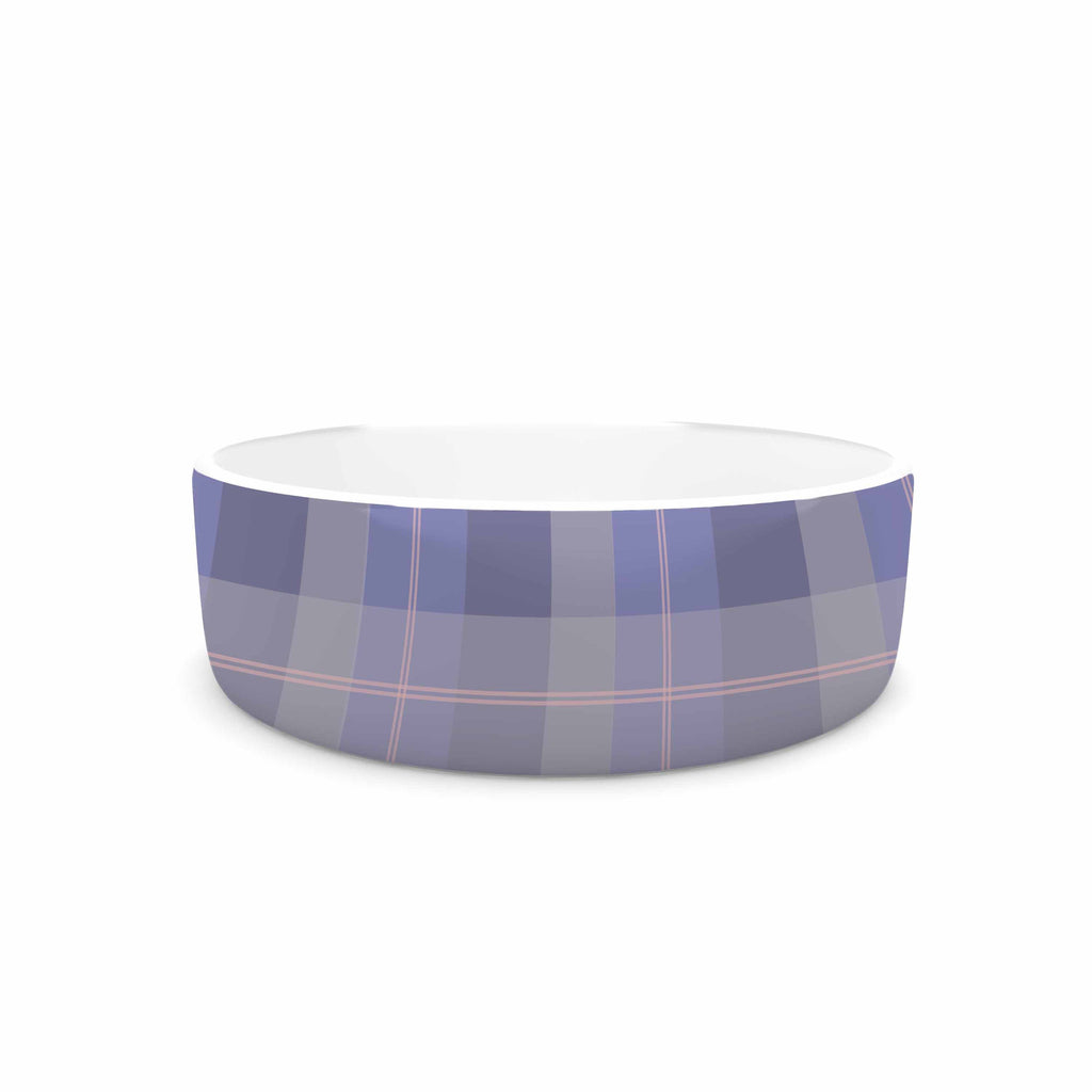 "afe images ""Purple Plaid Pattern"" Purple Blue Illustration Pet Bowl - KESS InHouse"