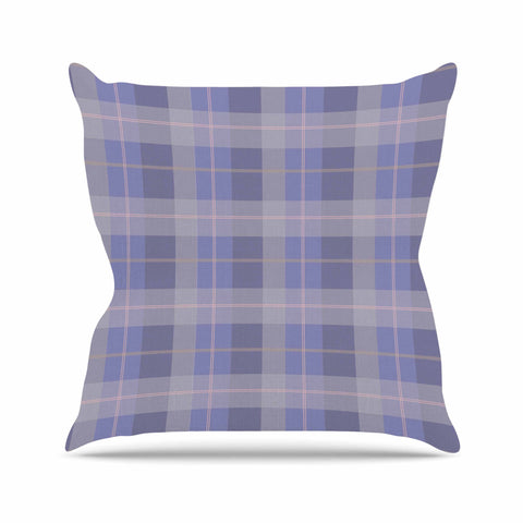 "afe images ""Purple Plaid Pattern"" Purple Blue Illustration Outdoor Throw Pillow - KESS InHouse  - 1"
