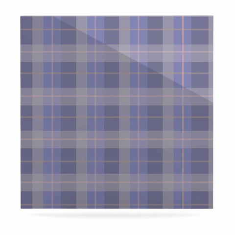 "afe images ""Purple Plaid Pattern"" Purple Blue Illustration Luxe Square Panel - KESS InHouse  - 1"
