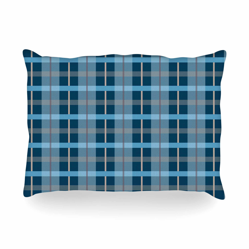 "afe images ""Blue Plaid Pattern"" Blue Multicolor Illustration Oblong Pillow - KESS InHouse"